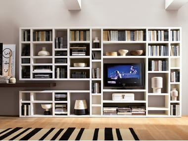Open lacquered wooden bookcase CROSSING | Open bookcase