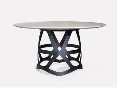 Tavolo rotondo in marmo di Carrara e metallo CROWN | Tavolo rotondo