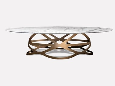 Oval Calacatta marble and metal dining table CROWN | Oval table