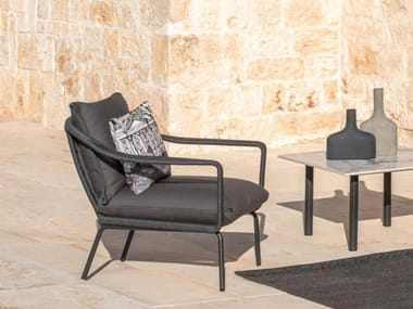 Fabric garden armchair with armrests CRUISE ALU   Garden armchair