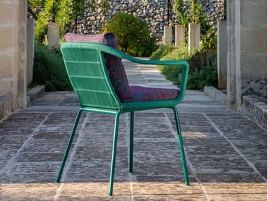 Fabric chair with armrests with integrated cushion CRUISE ALU | Chair