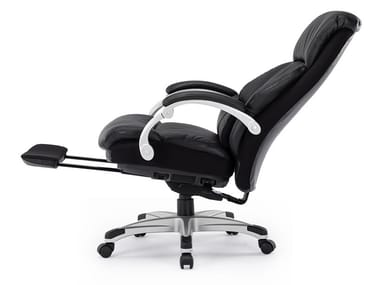 Recliner leather executive chair with 5-spoke base with footrest CS-2066E