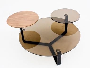 Tavolino da caffè rotondo in legno e vetro CT-233B | Tavolino