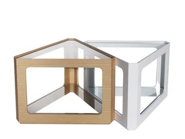 Tavolino da caffè triangolare in legno e vetro CT-192 | Tavolino