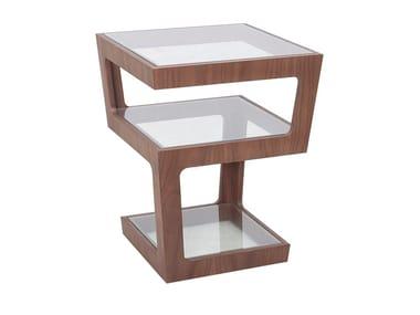 Tavolino da caffè quadrato in legno e vetro CT-089B | Tavolino