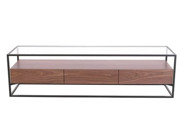 Rectangular wood and glass coffee table with storage space CB-093 | Coffee table