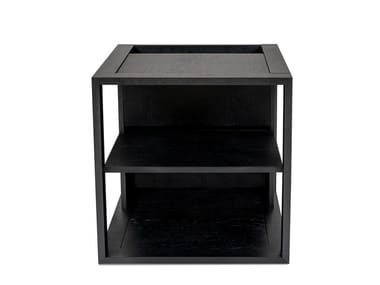 Lacquered coffee table with storage space CUBE OAK/BLACK