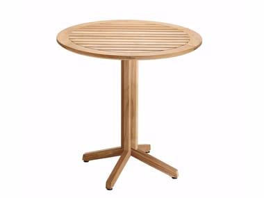 Folding round teak garden table CUBE | Round table