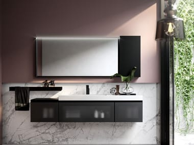 Wall-mounted vanity unit with drawers CUBIK 17