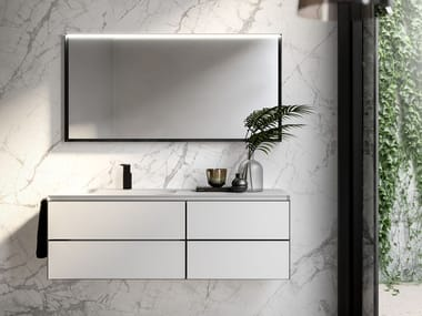 Wall-mounted vanity unit with drawers CUBIK 18