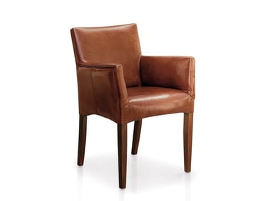 Upholstered leather chair with armrests CUBO