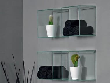 Glass bathroom wall shelf CUBO