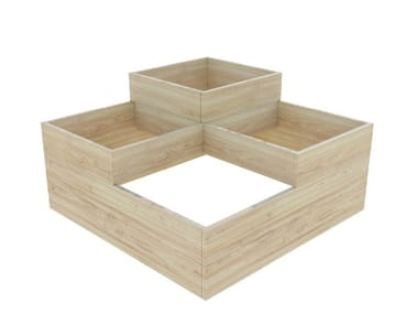 Low square fir planter CUBO