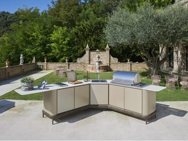 Gas outdoor kitchen with Barbecue CURVED