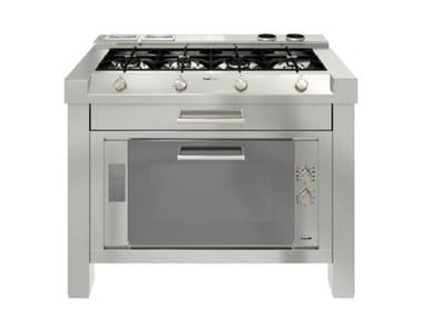 Modulo cucina freestanding in acciaio inox MILANO 4F LINEA 2V+2T