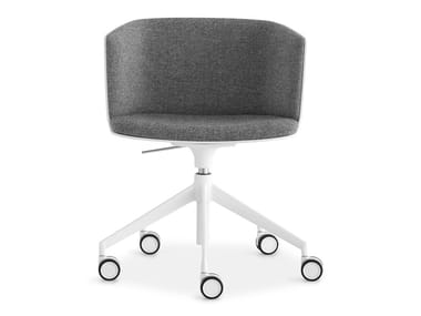 Height-adjustable swivel fabric chair with castors CUT | Height-adjustable chair