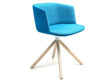 Swivel upholstered fabric chair CUT   Trestle-based chair