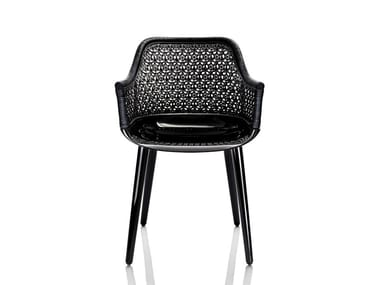 Woven wicker chair with armrests CYBORG ELEGANT