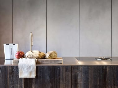 Spruce and steel kitchen with island D90 | Steel and wood kitchen