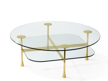 Mesa de centro de café redonda de cristal DA VINCI | Mesa de centro redonda
