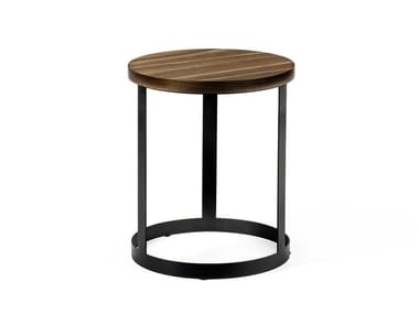 Round coffee table in walnut and painted metal base DCV 100 | High side table