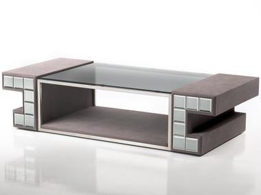 Tavolino rettangolare rivestito in tessuto e piano in vetro DCV 200