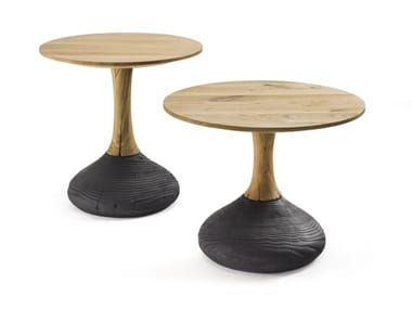 Round oak coffee table DECANT | Round coffee table