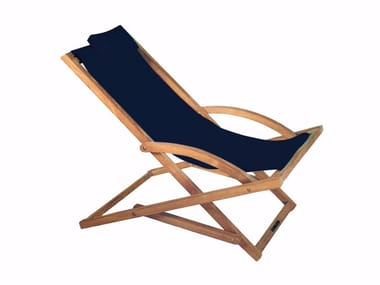 Folding fabric deck chair with armrests BEACHER | Deck chair