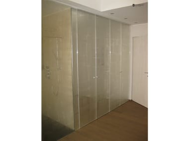 Niche shower cabin with hinged door DECORFLOU® DESIGN FABRIC
