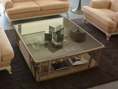 Square wood and glass coffee table DEDALO | Coffee table