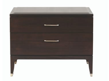 Rectangular wood veneer bedside table with drawers DELANO | Bedside table