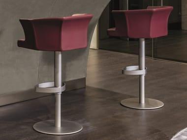 Height-adjustable leather stool DELON