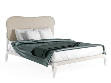 Lacquered double bed with upholstered headboard DELUXE I | Bed