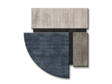 Handmade wool rug with geometric shapes DENIM