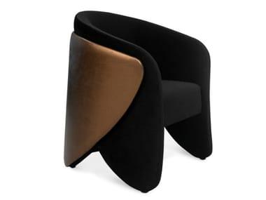 Upholstered velvet easy chair with armrests DENISE