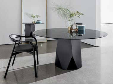 Round tempered glass table DEOD | Glass table