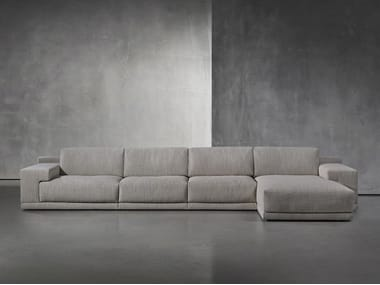 Fabric sofa with removable cover with chaise longue DERK