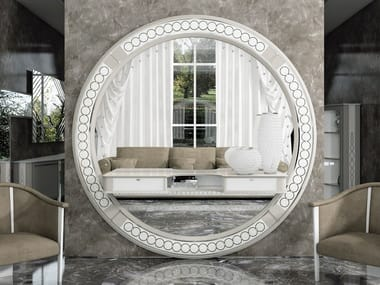 Round wall-mounted framed wooden mirror DESIRE | Round mirror