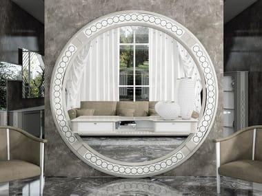 Round wall-mounted framed wooden mirror DESIRE | Round mirror