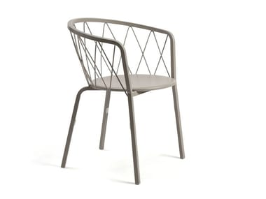 Stackable metal garden chair with armrests DÉSIRÉE | Chair with armrests