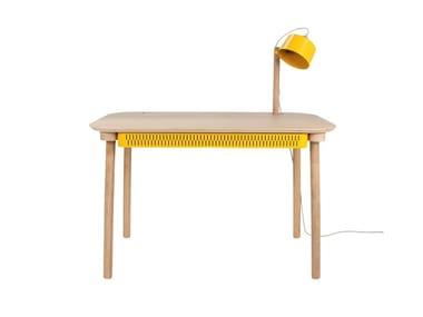 Rectangular wood veneer writing desk with drawers DÉSIRÉ