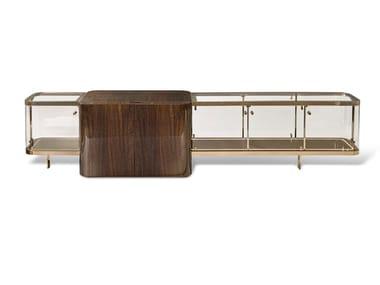 Double-sided eucalyptus sideboard with doors DESMOND
