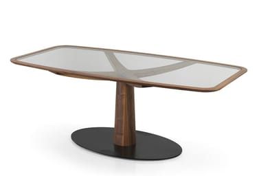 Rectangular Wood And Glass Table DIAMANTE | Wood And Glass Table