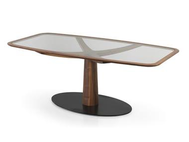 Tavolo rettangolare in legno e vetro DIAMANTE | Tavolo in legno e vetro