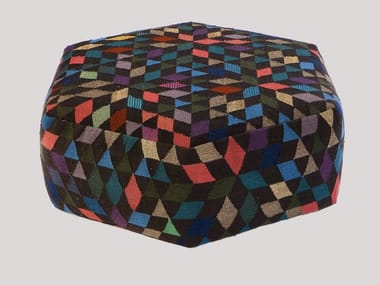 Upholstered wool pouf DIAMOND BLACK | Pouf