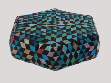 Upholstered wool pouf DIAMOND MEDALLION BLUE-GREEN | Pouf