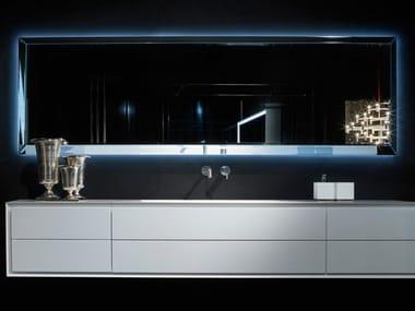 Glass bathroom mirror with integrated lighting DIAMOND
