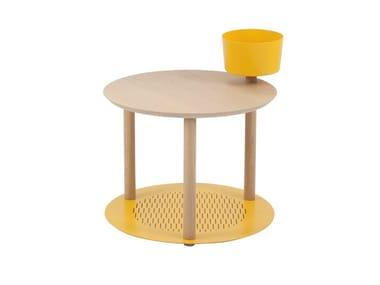 Round wood veneer bedside table DIANE