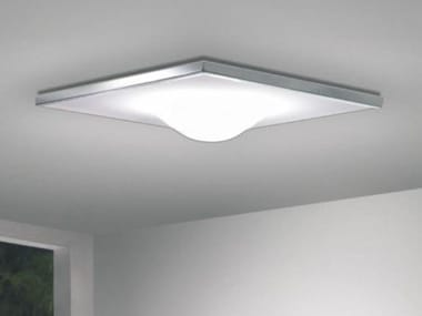 Direct light glass and aluminium ceiling light DICKEY SQUARE