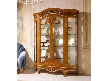 Wood veneer display cabinet DIAMANTE | Display cabinet